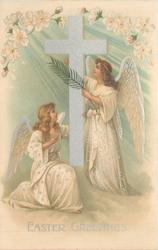 EASTER GREETINGS two angels face each other, one kneels
