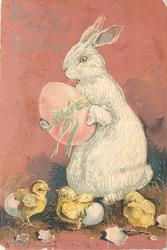 LOVING EASTER GREETINGS rabbit holds large pink egg, 3 freshly hatched chicks below