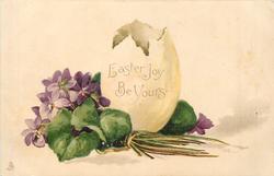 EASTER JOY BE YOURS upright hatched open egg, violets left