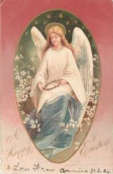 A HAPPY EASTER angel with crown of thorns in hand