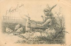 girl in bunny costume sits feeding rabbit