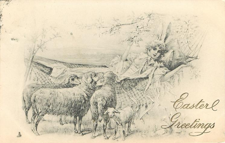 girl lays in hammock, four sheep at her side