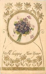 A HAPPY NEW YEAR violets in bouquet insert