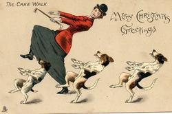 MERRY CHRISTMAS GREETINGS, woman in red hunting jacket and three dogs cake walk left