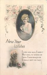 NEW YEAR WISHES, inset girl holds kitten, dog & verse below