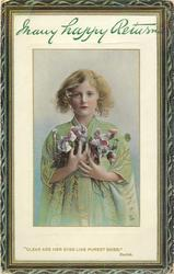 """CLEAR ARE HER EYES LIKE PUREST SKIES.""  girl with green dress grasping flowers"
