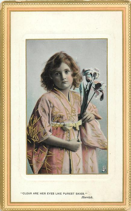 """CLEAR ARE HER EYES LIKE PUREST SKIES.""  girl in yellow dress holding flower with right hand"