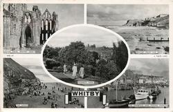 5 insets THE NAVE, WHITBY ABBEY/WHITBY FROM THE WEST/PANNETT PARK/THE SANDS/ THE HARBOUR AND MARINE PARADE