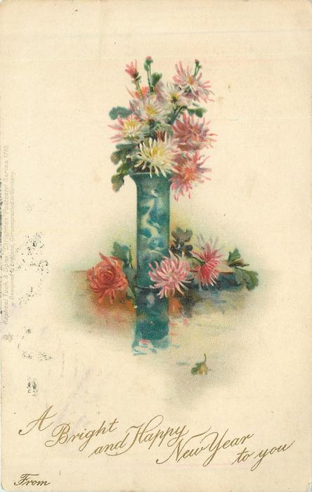 A BRIGHT AND HAPPY NEW YEAR TO YOU chrysanthemums in tall blue vase