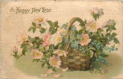 A HAPPY NEW YEAR  pink & white dog roses with forget-me-nots in upright basket