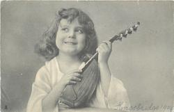 girl with lute, looking left/up