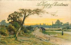 A HAPPY CHRISTMAS winter scene, woman follows a series of geese, two people on a bridge, buildings in the distance
