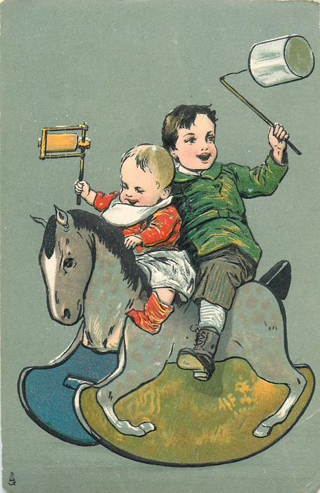 boy and baby on rocking horse