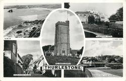 5 insets THURLESTONE ROCK/THURLESTONE HOTEL/ALL SAINTS CHURCH/THURLESTONEVILLAGE/GOLF CLUB HOUSE
