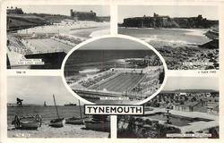 TYNEMOUTH  5 insets BATHING POOL AND LONG SANDS/KING EDWARDS BAY/THE BATHING POOL/THE PIER/TYNEMOUTH PARK PROMENADE
