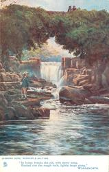 man fishing down stream from waterfall