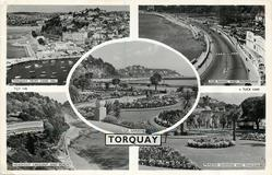 5 insets  TORQUAY FROM VANE HILL/TOR SANDS AND PROMENADE/TOR GARDENS/MEADFOOT CRESCENT AND BEACH/PRINCESS GARDENS AND PAVILION