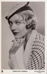 MADELEINE CARROLL  head & shoulder study, facing left, looking front, hand below chin