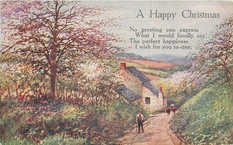 A HAPPY CHRISTMAS  rural springtime, path two people & two cows