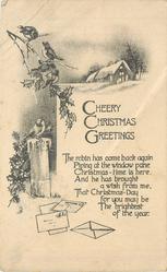 CHEERY CHRISTMAS GREETINGS 5 robins, mail