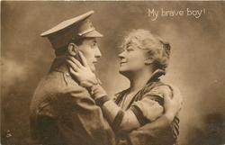 soldier in uniform to left embraces mother to right, her left hand  on his cheek, his right hand on her shoulder
