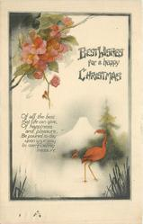 BEST WISHES FOR A HAPPY CHRISTMAS  red japonica above flamingos
