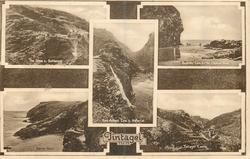 5 insets THE STEPS AND BATTLEMENTS/BOSSINEY COVE & THE ELEPHANT ROCK/KING ARTHUR'S COVE & WATERFALL/BARRAS HEAD/TINTAGEL CASTLE