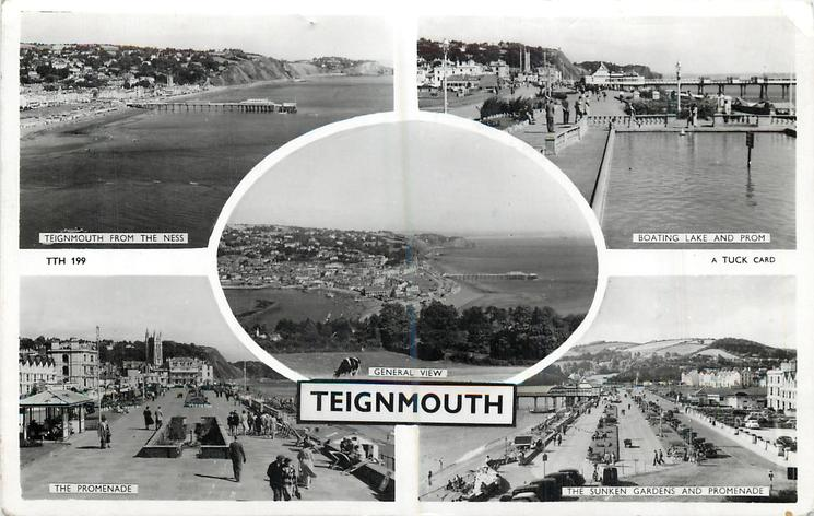 5 insets TEIGNMOUTH FROM THE NESS/BOATING LAKE AND PROM/GENERAL VIEW/THE PROMENADE/THE SUNKEN GARDENS AND PROMENADE