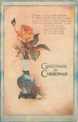GREETINGS FOR YOUR CHRISTMAS  rose in vase decorated with kingfisher