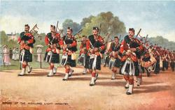 PIPERS OF THE HIGHLAND LIGHT INFANTRY, IN THE PARK, ON THE MARCH