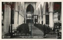 INTERIOR OF ST. JOHN THE BAPTIST CHURCH WITH OUR LADY AND ST. LAWRENCE
