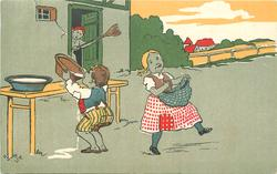 boy pilfers a drink of fresh milk with girl beside, woman in doorway scolds with broom in the air