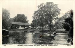 row boats on pond, tea room back left