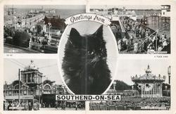 4 insets & GREETINGS FROM SOUTHEND-ON-SEA cats head  THE PIER/PIER EXTENSION/THE KURSAAL/THE CLIFFS BANDSTAND