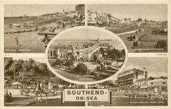 5 insets THE BEACH LOOKING EAST/MARINE PARADE AND GARDENS/THE LONGEST PIER IN THE WORLD/CHILDREN'S PLAYGROUND/BOATING LAKE AND PALACE HOTEL