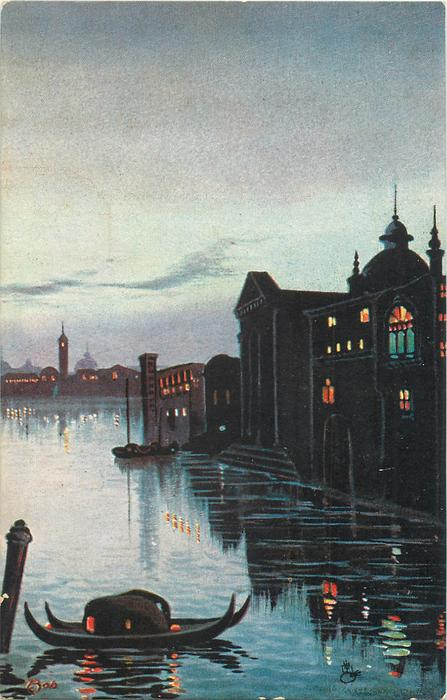 night scene, two gondolas tied to spar lower left, no bridge