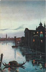 night scene, two gondolas tied to spar lower left, no bridge