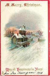 A MERRY CHRISTMAS MAY ALL HAPPINESS BE YOURS church, sleigh in snow