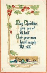 MAY CHRISTMAS GIVE YOU OF ITS BEST AND YOUR OWN HEART SUPPLY THE REST