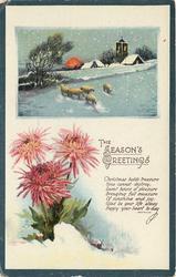 THE SEASON'S GREETINGS inset church & sheep in snow, chrysanthemums below