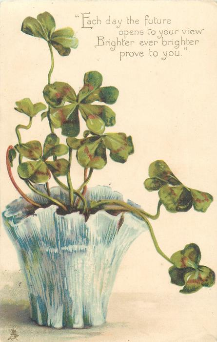 clover in blue pot & verse