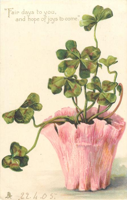 4 leaved clover in pink pot & verse