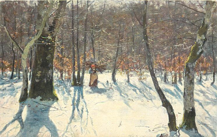 woman in distance carries wood bundle in snowy woodlands