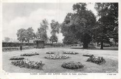 FLOWER GARDEN AND SUMMER HOUSE IN PARK