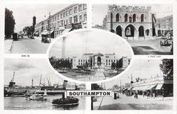 5 insets  SHIRLEY ROAD/BARGATE, SOUTH FRONT/ROSE GARDENS AND CIVIC CENTRE/B.O.A.C. TERMINAL AND HYHTE FERRY/SHIRLEY HIGH STREET