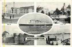 5 insets  CIVIC CENTRE/ROSE GARDENS AND GRAND THEATRE/R.M.S. QUEEN MARY, CUNARD WHITE STAR LINE/ARUNDEL TOWER AND FORTY STEPS/HYTHE FERRY AND DOCKS