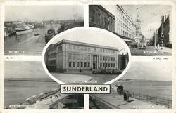 5 insets RIVER WEAR/FAWCETT STREET/TECHNICAL COLLEGE/THE SEA FRONT, ROKER/THE PROMENADE, SEABURN