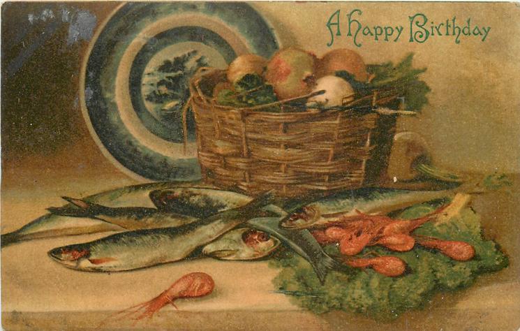 fish, basket of vegetables, plate behind
