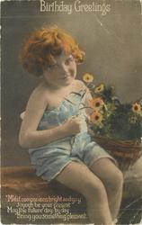 BIRTHDAY GREETINGS girl sits next to basket of flowers, she holds one in her right hand
