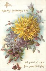 WITH HEARTY GREETINGS chyrsanthemums
